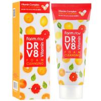 Витаминная очищающая пенка для умывания Farmstay Dr.V8 Vitamin Foam Cleansing 100 мл (8809469775885)