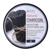 Увлажняющий гель для лица и тела с древесным углём Jigott Natural Charcoal Moisture Soothing Gel 300 мл (8809541280757)
