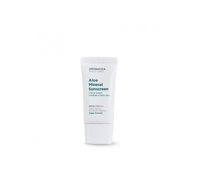 Органический минеральный солнцезащитный крем Aromatica Aloe Mineral Sunscreen SPF50/PA++++ 50 г (8809151131524)