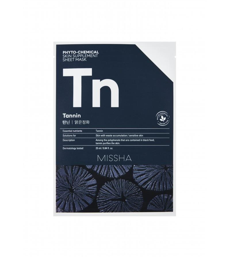 Очищающая маска для лица с древесным углем Missha Phytochemical Skin Supplement Sheet Mask Tannin 25 мл (8809581456075)