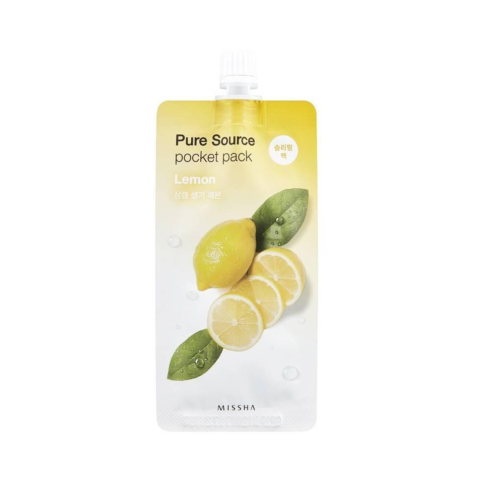 Осветляющая ночная маска для лица с экстрактом лимона Missha Pure Source Pocket Pack Lemon 10 мл (8806185781879)