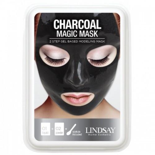 Альгинатная маска для лица с черным углем Lindsay Luxury Aqua Charcoal Magic Mask 65 г+15 г (510)