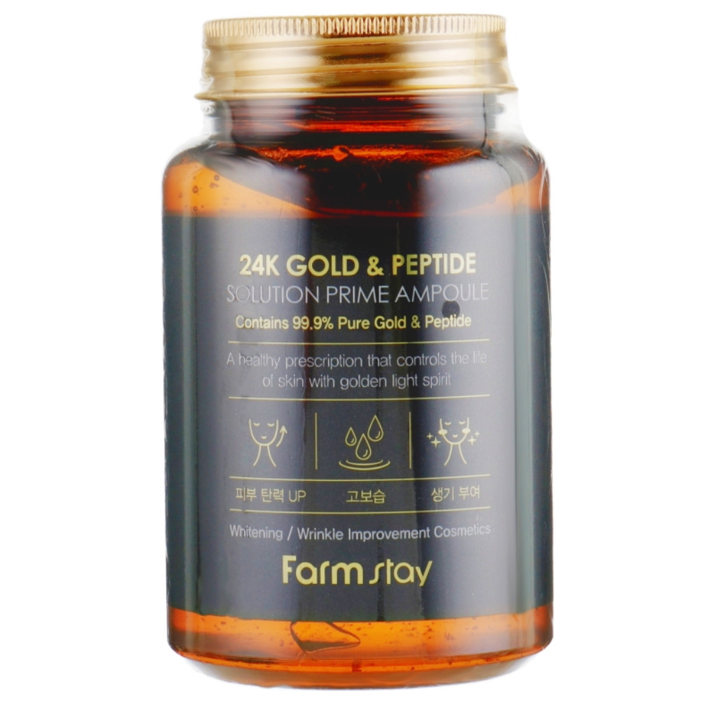 Ампульная сыворотка для лица с золотом и пептидами Farmstay 24k Gold & Peptide Solution Prime Ampoule 250 мл (8809469776691)