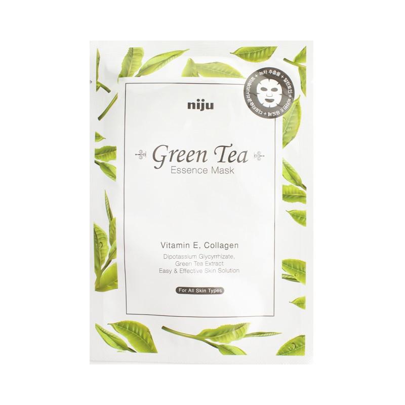Успокаивающая маска для лица с экстрактом зеленого чая Konad Niju Green Tea Essence Mask Skin Care 17 мл (8809109831193)