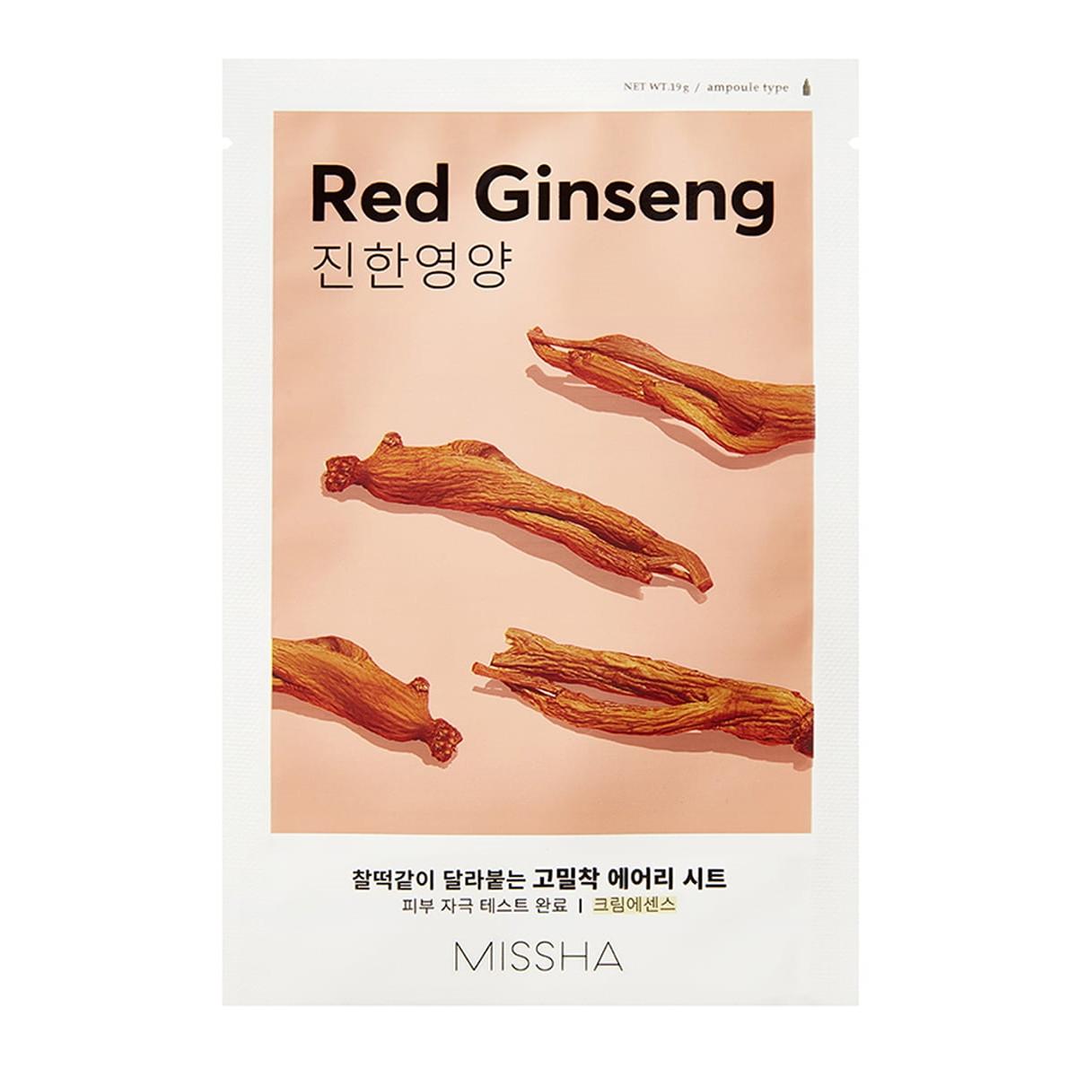 Тонизирующая маска для лица с экстрактом женьшеня Missha Airy Fit Sheet Mask Red Ginseng 19 г (8809581454774)