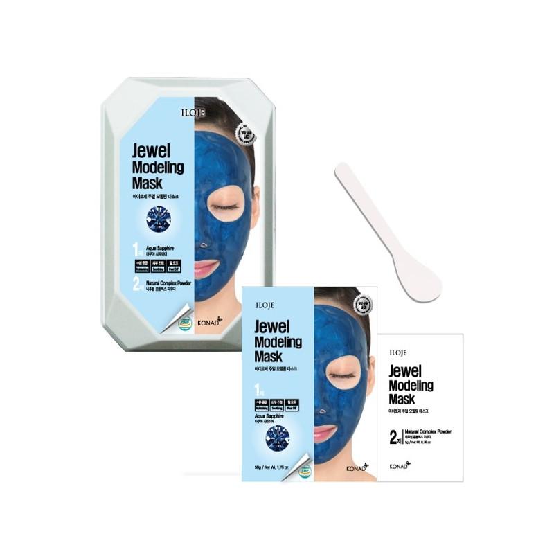 Моделирующая маска для лица с сапфировой пудрой Konad Iloje Jewel Modeling Mask Pack Aqua Sapphire 50г+5г (8809433726066)