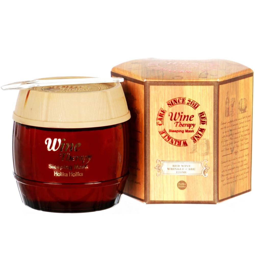 Ночная антивозрастная маска для лица с красным вином Holika Holika Wine Therapy Sleeping Mask Red Wine 120 мл (8806334338572)