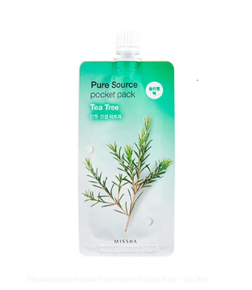Ночная маска с экстрактом чайного дерева Missha Pure Source Pocket Pack Tea Tree 10 мл (8806185781848)