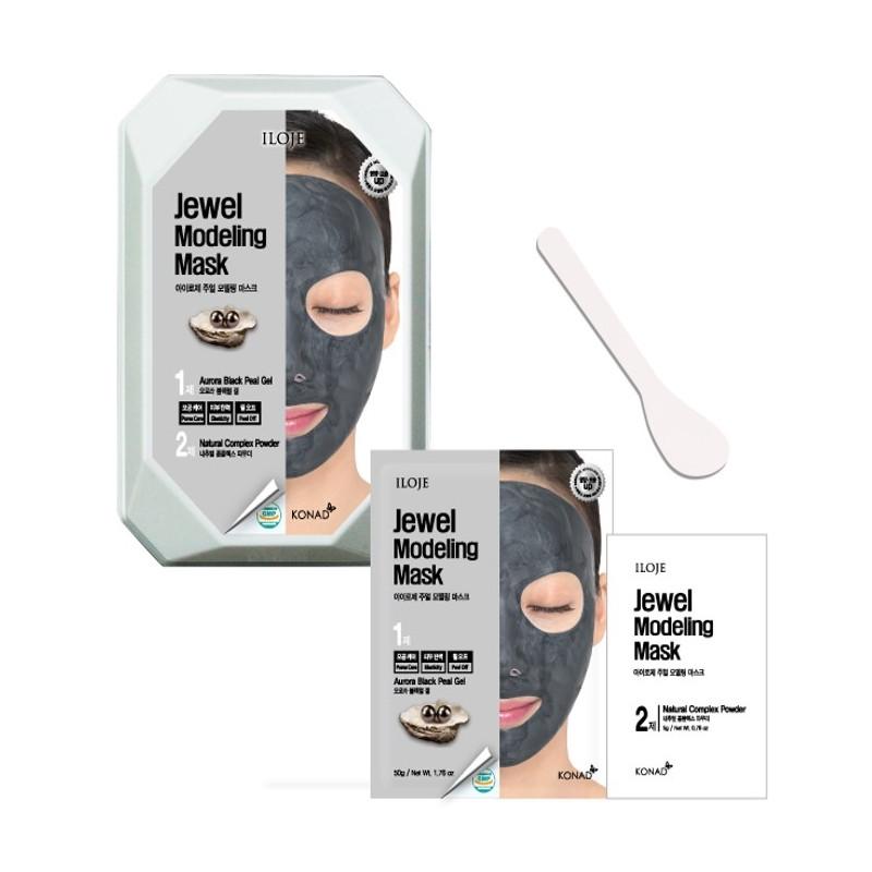 Моделирующая маска для лица с черным жемчугом Konad Iloje Jewel Modeling Mask Pack Aurora Black Pearl 50г+5г (8809433726080)