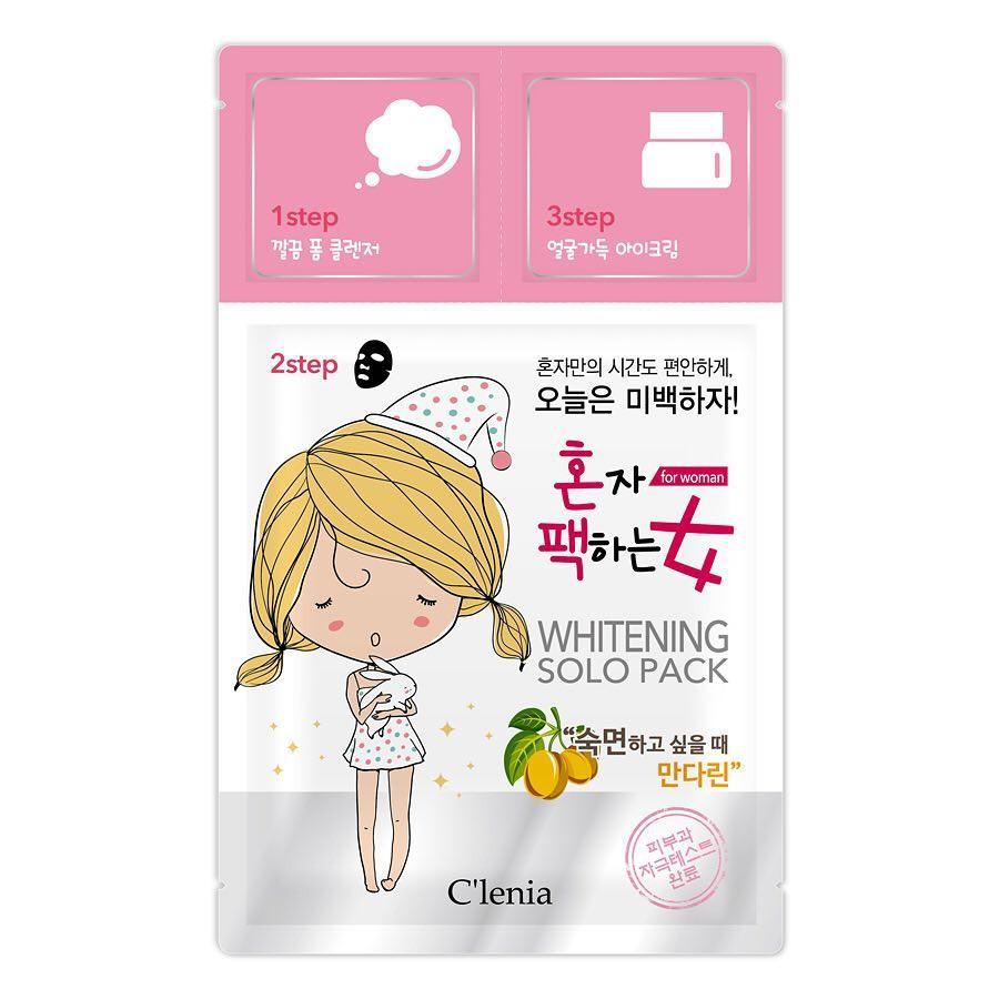 Осветляющая маска для лица Clenia Solo Pack Woman Whitening 3 Step Mask 1.5мл/25мл/1.5мл (8809464950294)