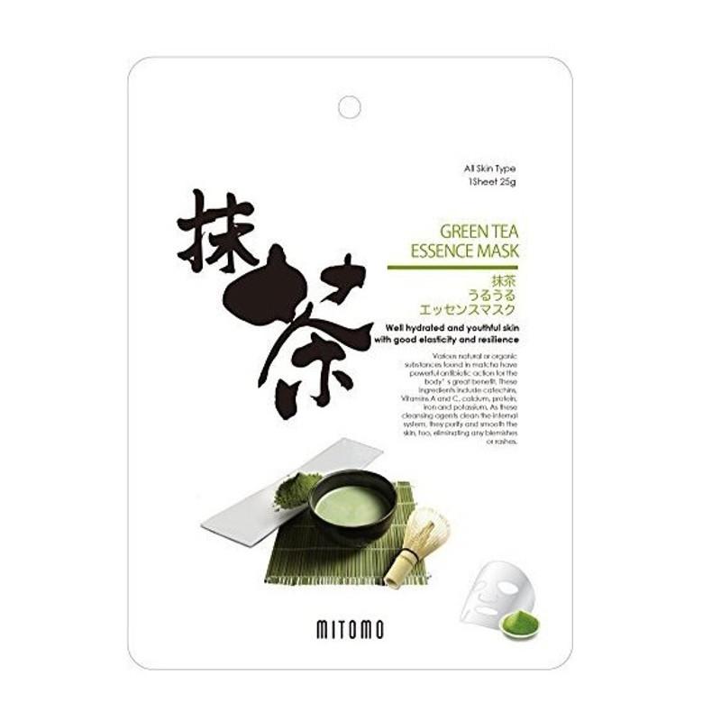 Увлажняющая тканевая маска для лица с экстрактом зелёного чая Mitomo Green Tea Essence Mask 25 г (4582419531604)