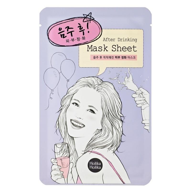 Восстанавливающая маска для лица после вечеринки Holika Holika After Mask Sheet After Drinking 18 мл (8806334350437)