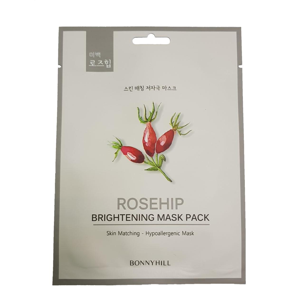 Тканевая маска для лица с экстрактом шиповника Bonnyhill Mask Pack Rosehip 23 г (8809087931380)