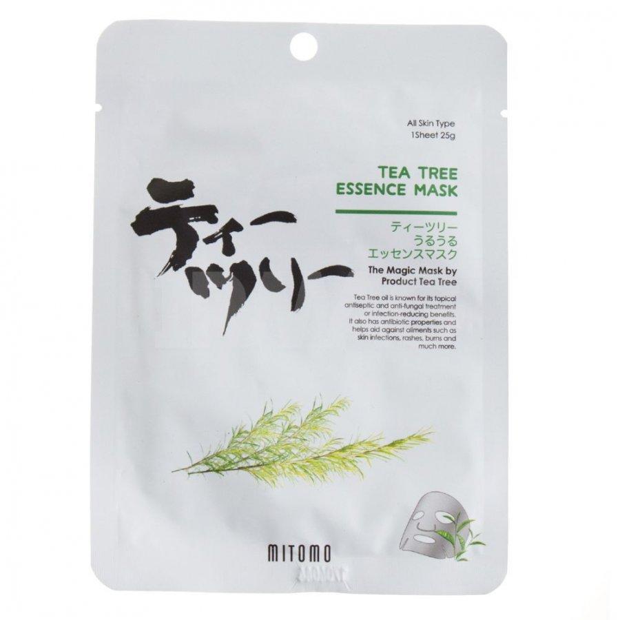Успокаивающая тканевая маска для лица с маслом чайного дерева Mitomo Tea Tree Essence Mask 25 г (4582419531710)