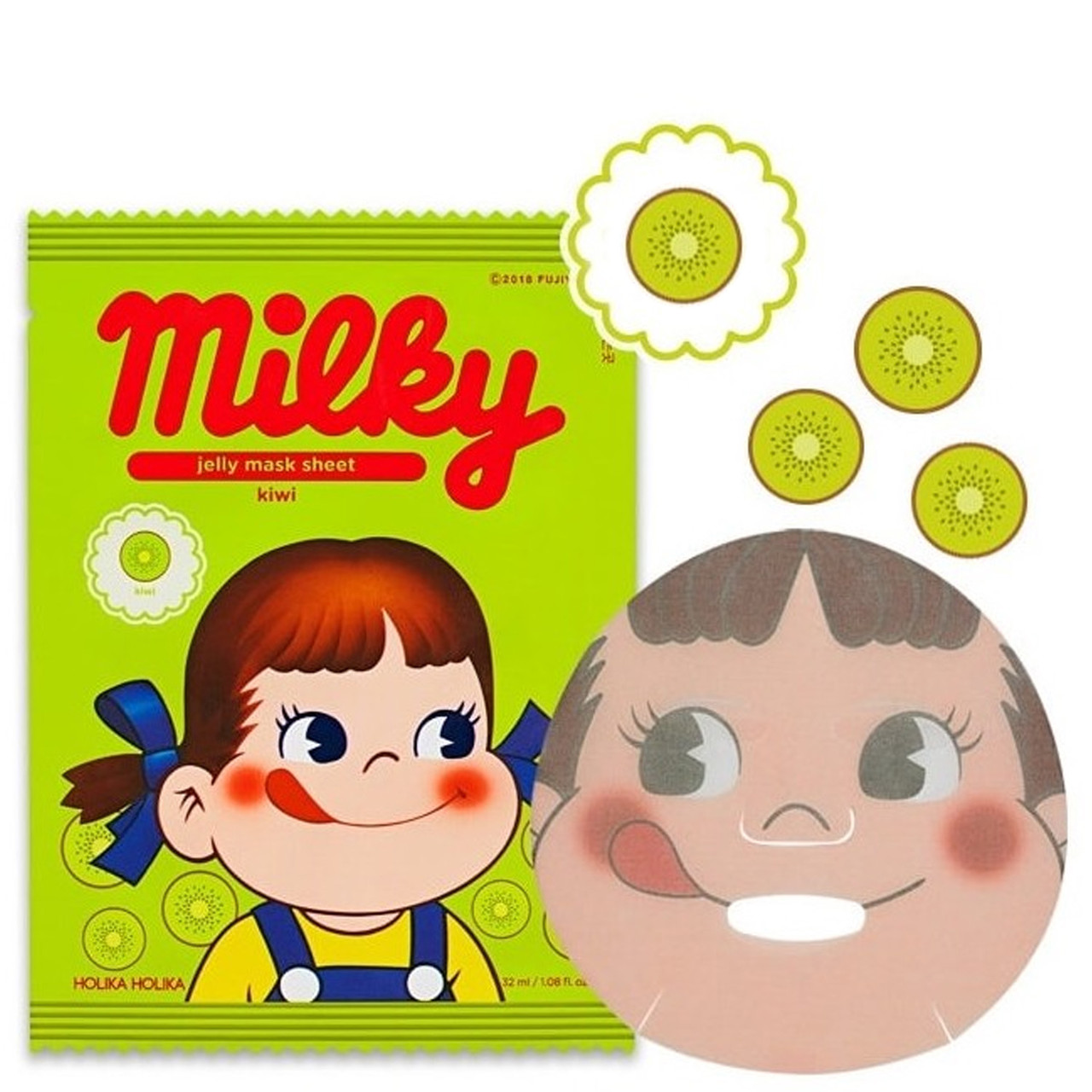 Тканевая маска для лица с киви Holika Holika Peko Chan Pure Essence Jelly Mask Sheet Kiwi 32 мл (8806334379292)