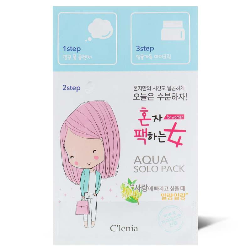 Увлажняющая маска для лица Clenia Solo Pack Woman Moisturizing Aqua 3 step Mask 1.5мл/25мл/1.5мл (8809464950287)