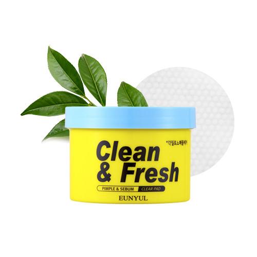 Очищающие подушечки для лица с кислотами AHA и BHA Eunyul Clean & Fresh Pimple & Sebum Clear Pad 70 шт (8809435404290)