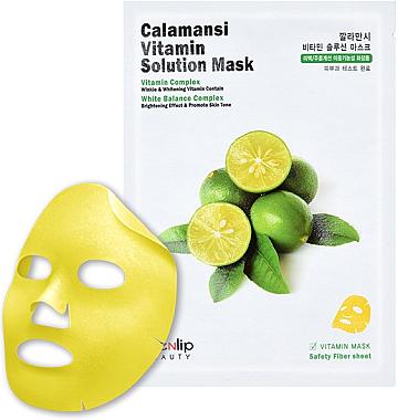 Витаминная тканевая маска для лица с экстрактом каламанси Eyenlip Calamansi Vita Solution Mask 1 шт (8809555250395)