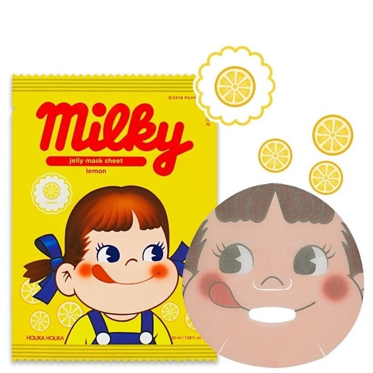 Тканевая маска для лица с лимоном Holika Holika Peko Chan Pure Essence Jelly Mask Sheet Lemon 32 мл (8806334379308)
