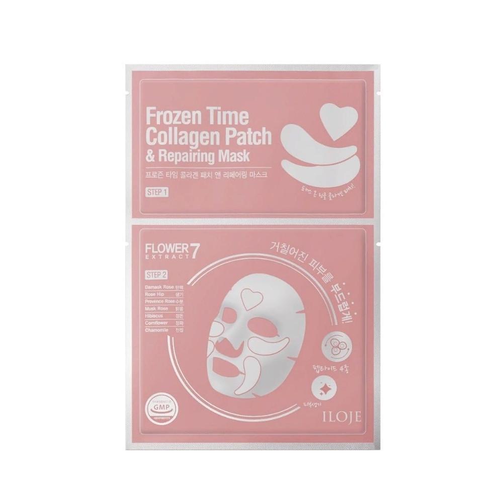 Восстанавливающая маска для лица с тающими патчами 2в1 Konad Iloje Frozen Time Collagen Patch & Repairing Mask (8809433726684)