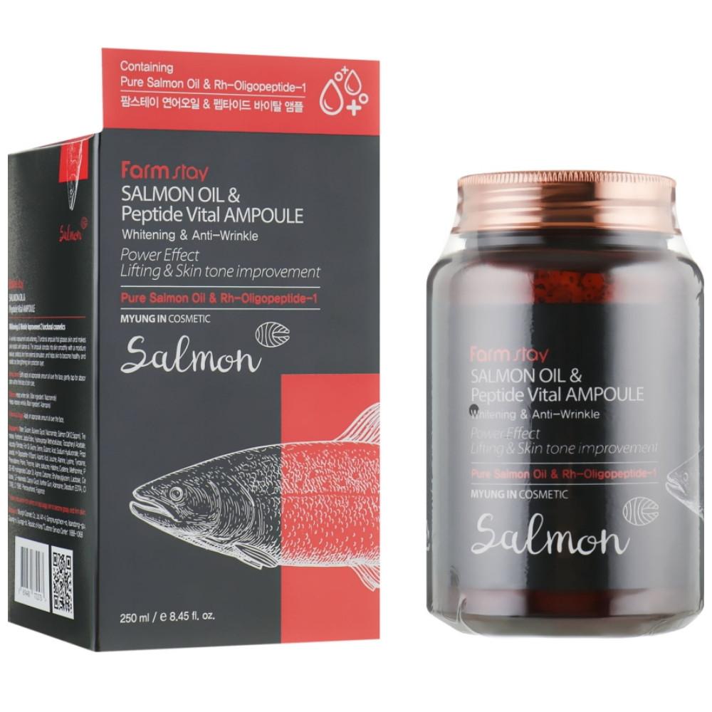 Восстанавливающая сыворотка для лица с лососевым маслом Farmstay Salmon Oil & Peptide Vital Ampoule 250 мл (8809480772573)