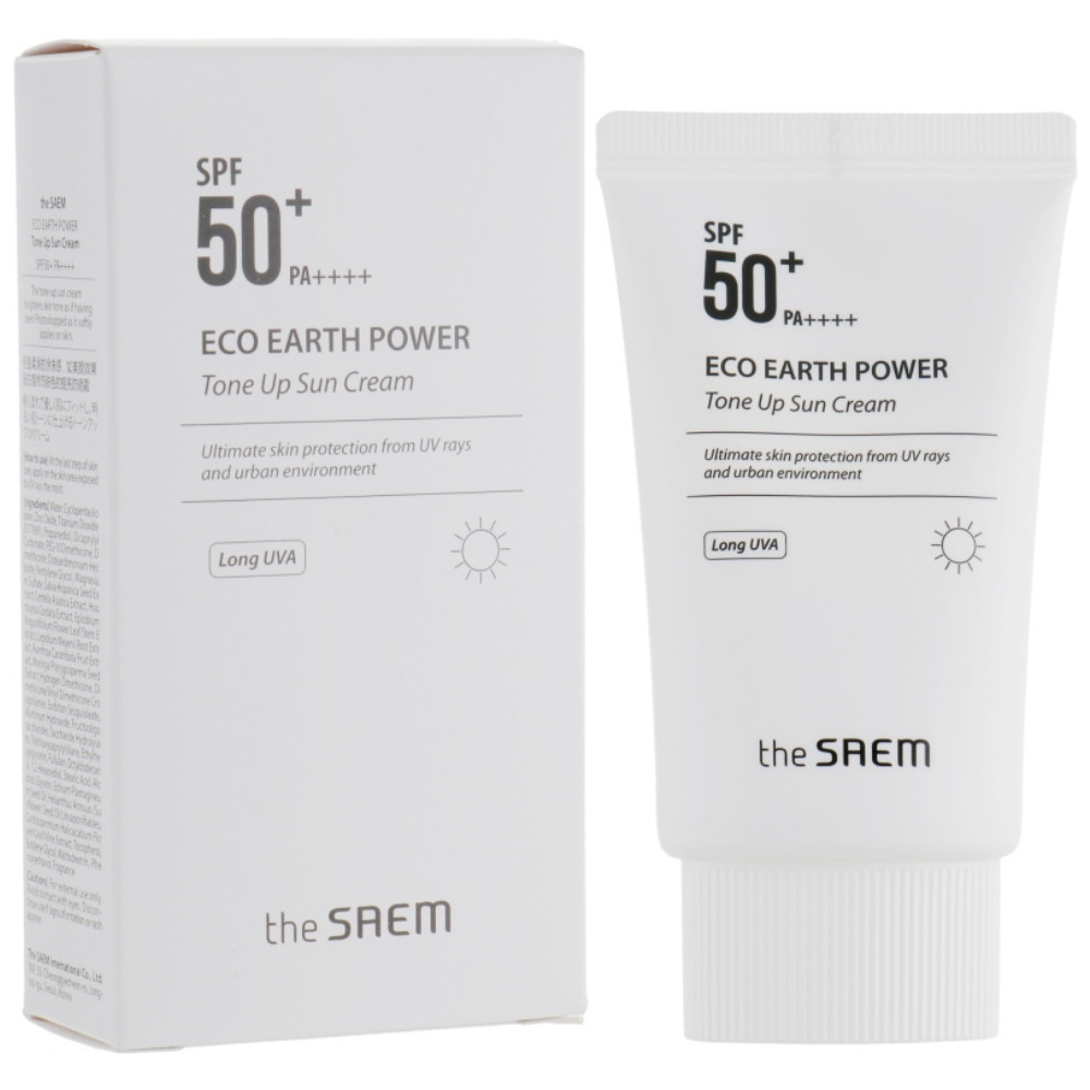 Солнцезащитный осветляющий крем для лица The Saem Eco Earth Tone Up Sun Cream 60 мл (8806164145913)