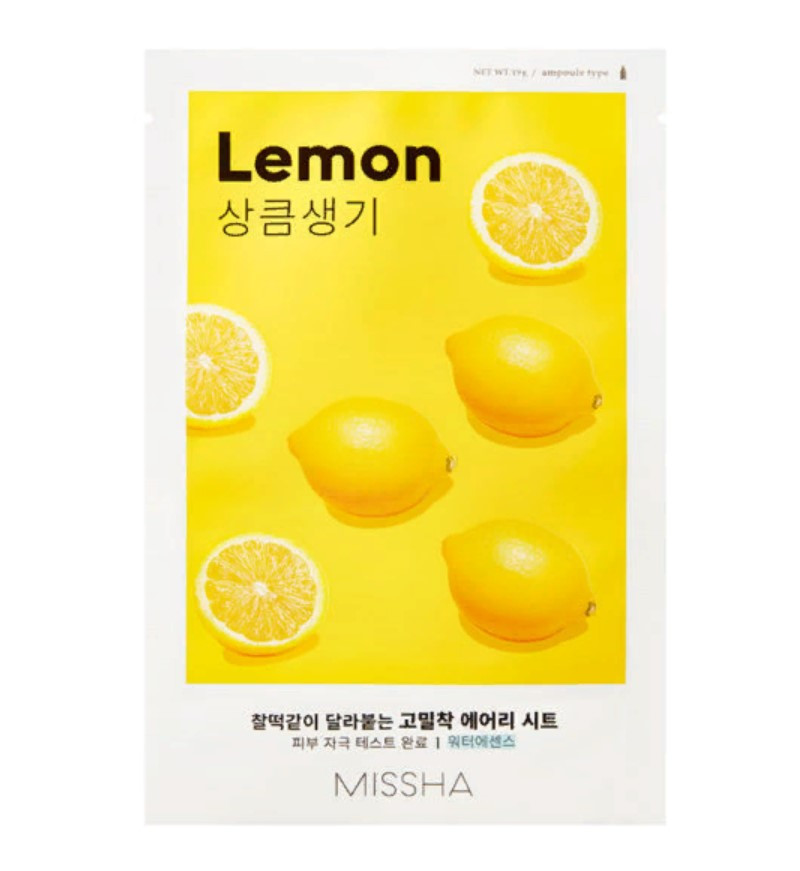 Осветляющая маска для лица с экстрактом лимона Missha Airy Fit Sheet Mask Lemon 19 г (8809581454736)