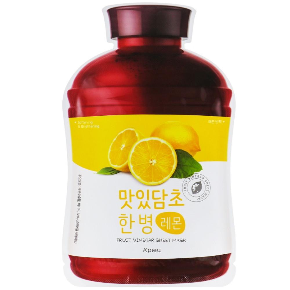 Осветляющая маска для лица с экстрактом лимона A'pieu Fruit Vinegar Sheet Mask Lemon 20 мл (8809530058947)