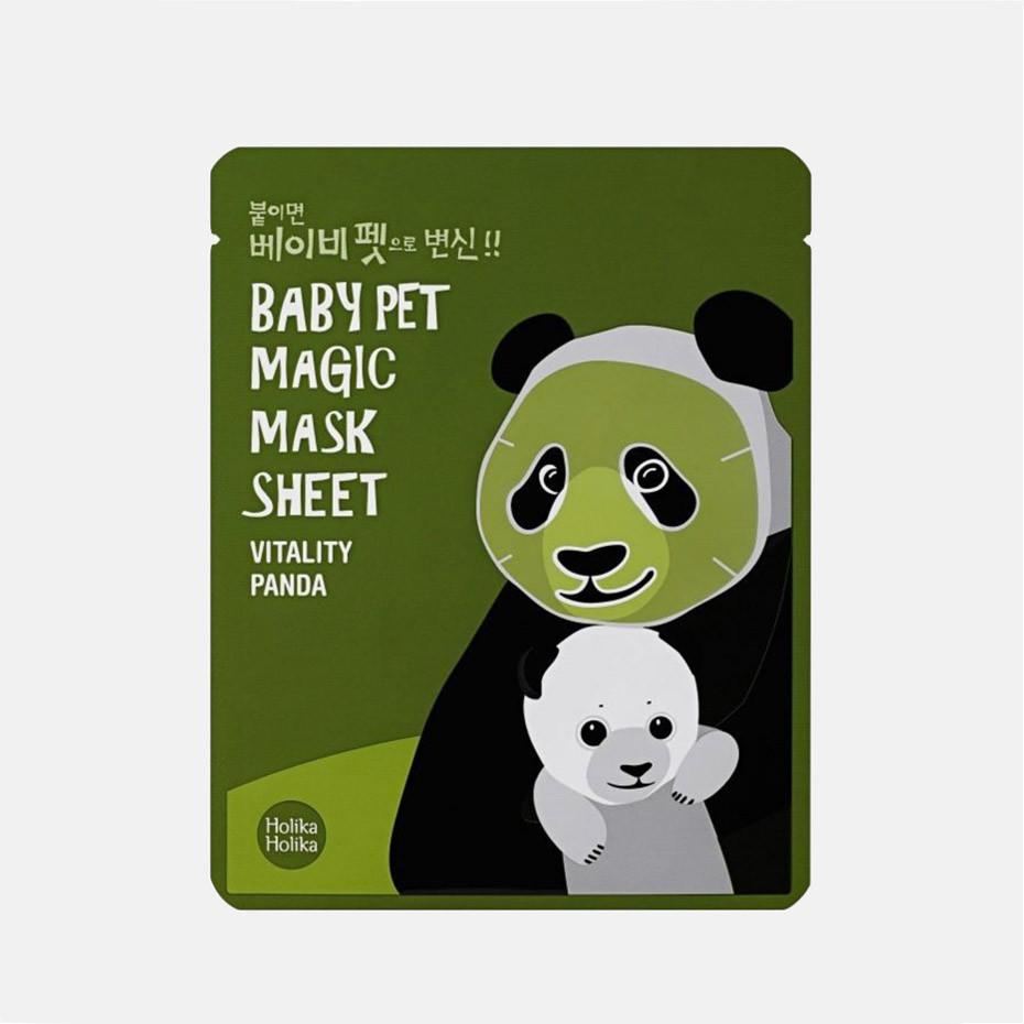 """Витаминная тканевая маска для лица """"Панда"""" Holika Holika Baby Pet Magic Mask Sheet Vitality Panda 22 мл (8806334359928)"""