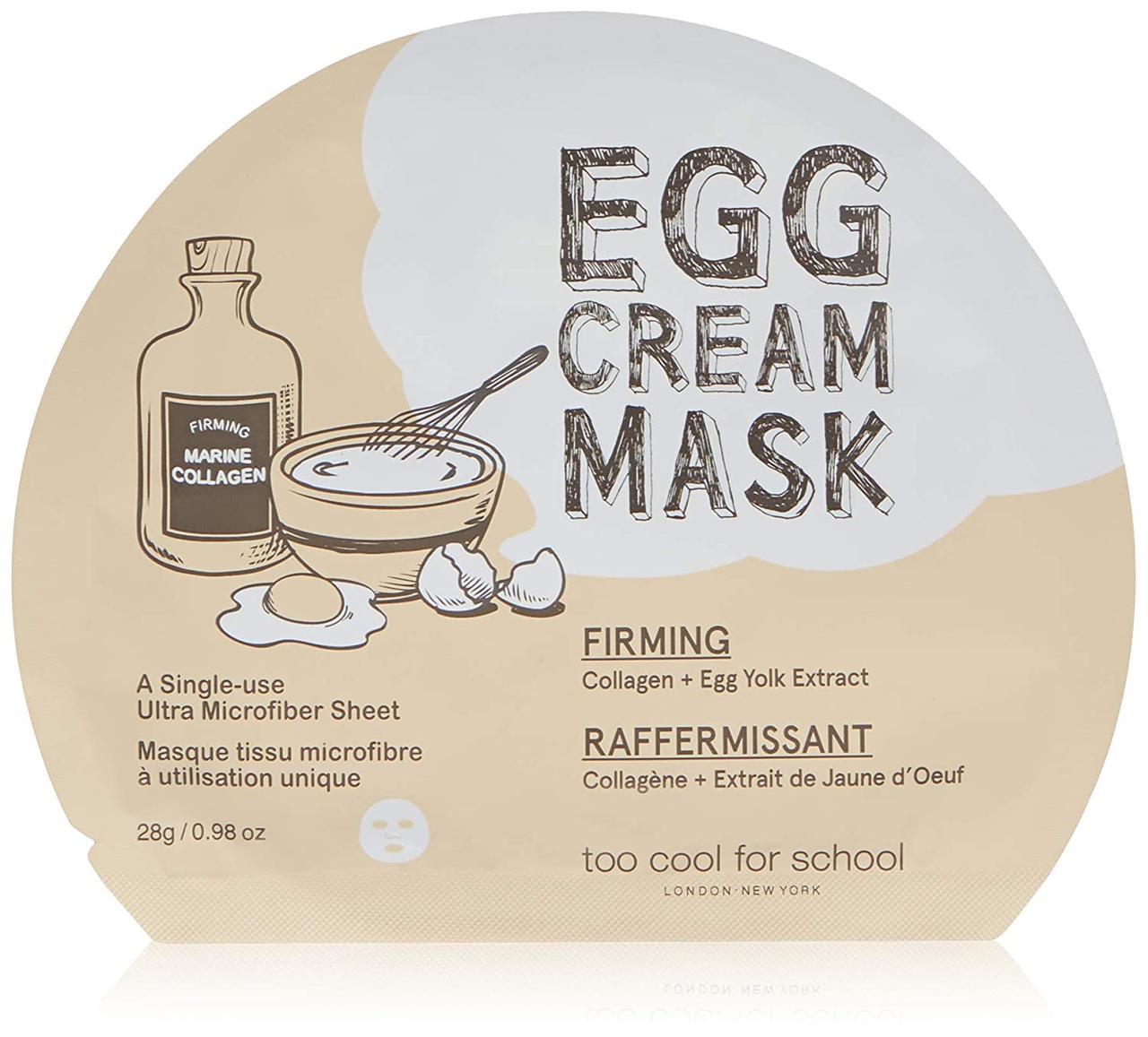 Омолаживающая тканевая маска для лица с яичным экстрактом Too Cool For School Egg Cream Mask Firming 28 г (8809402284566)