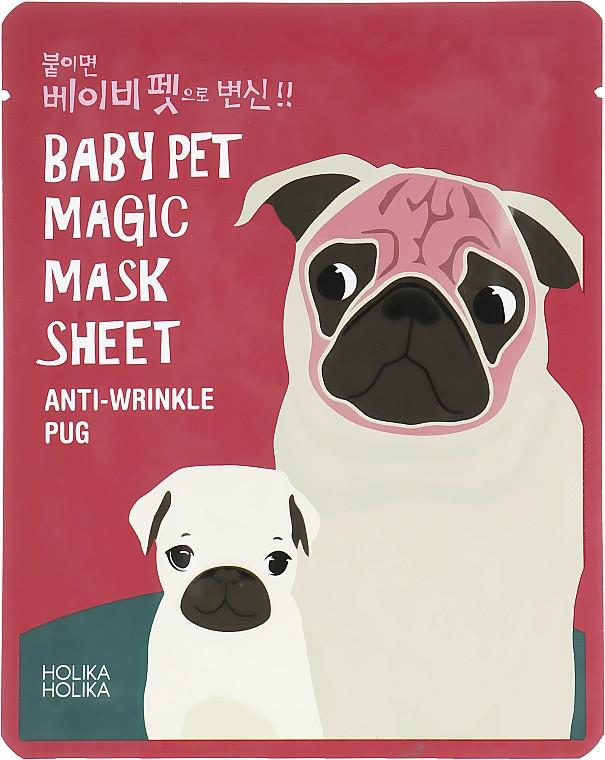 """Антивозрастная тканевая маска для лица """"Мопс"""" Holika Holika Baby Pet Magic Mask Sheet Anti-wrinkle Pug 22 мл (8806334359904)"""