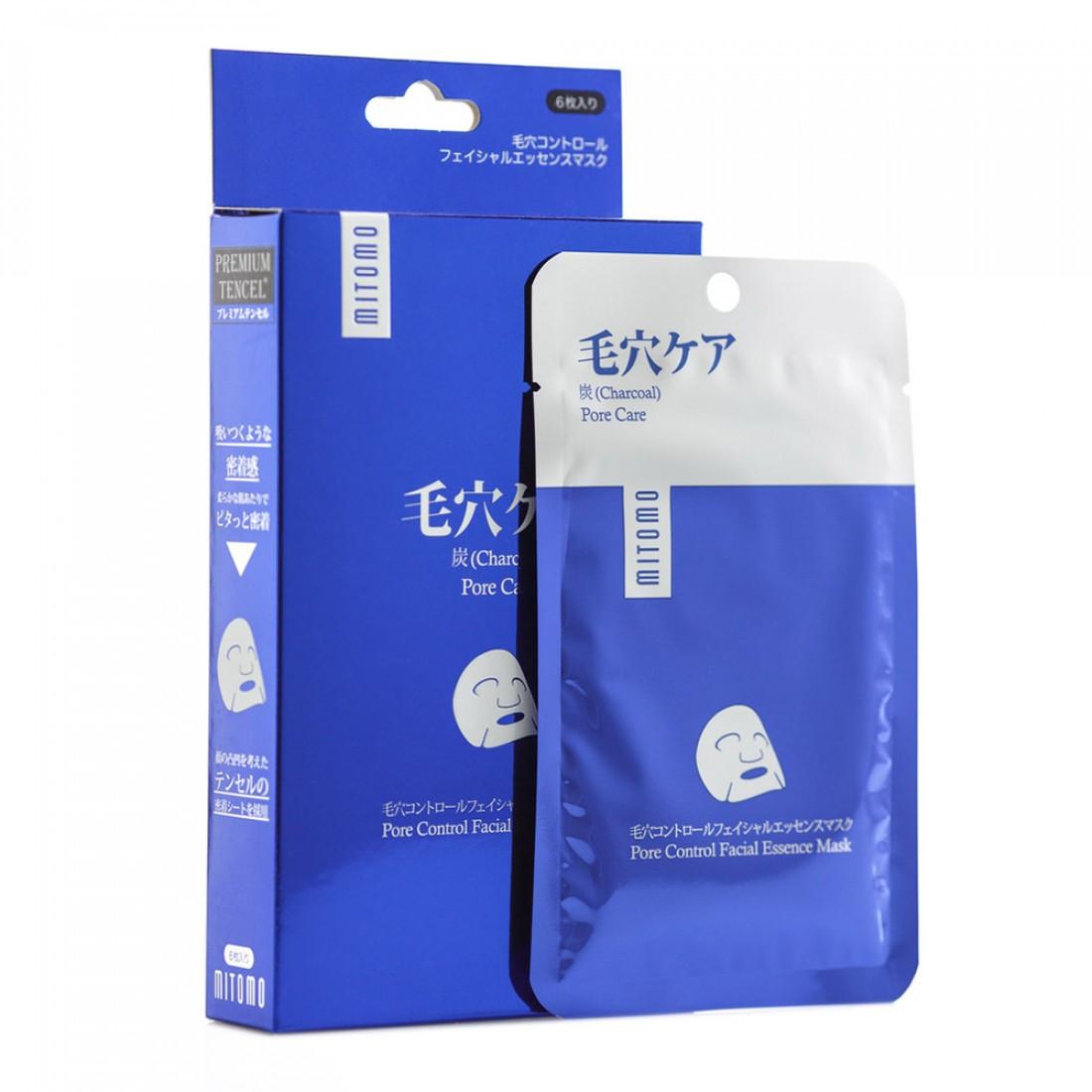 Маска для лица премиум с углем (для очищение пор) Mitomo Premium Pore Control Facial Essence Mask 25 г (4582419534018)