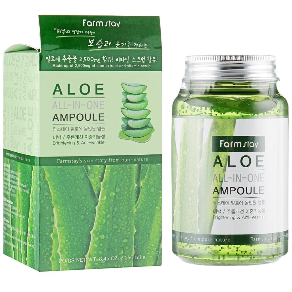 Ампульная сыворотка для лица с экстрактом алоэ Farmstay Aloe All In One Ampoule 250 мл (8809469772877)
