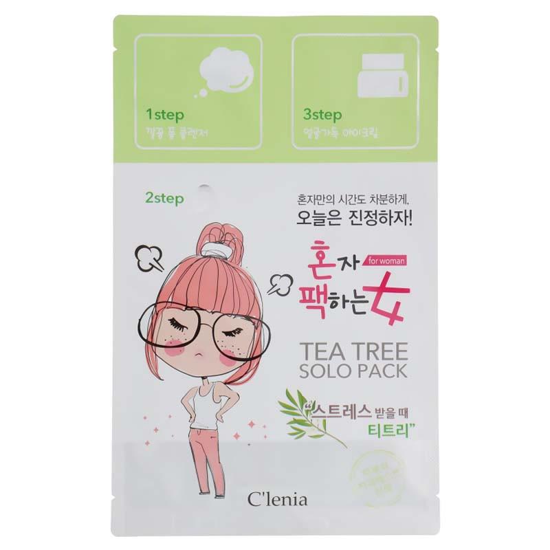 Маска для лица с экстрактом чайного дерева Clenia Solo Pack Woman Tea Tree 3 Step Mask 1.5мл/25мл/1.5мл (8809464950300)