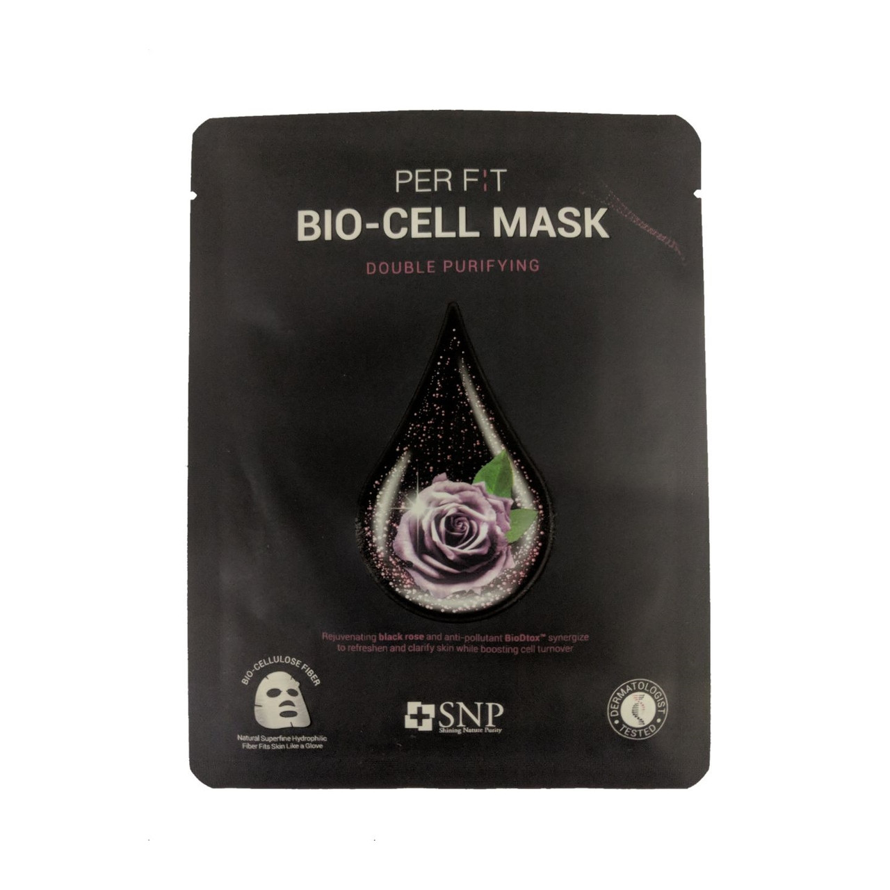 Биоцеллюлозная очищающая маска для лица с экстрактом чёрной розоы SNP Double Purifying Bio-cell Mask 25 мл (8809458846961)