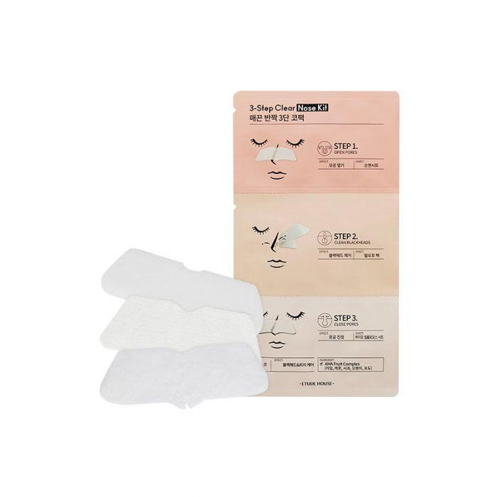 Патчи для очищения носа от черных точек Etude House 3 Step Clear Nose Kit (8809587363094)
