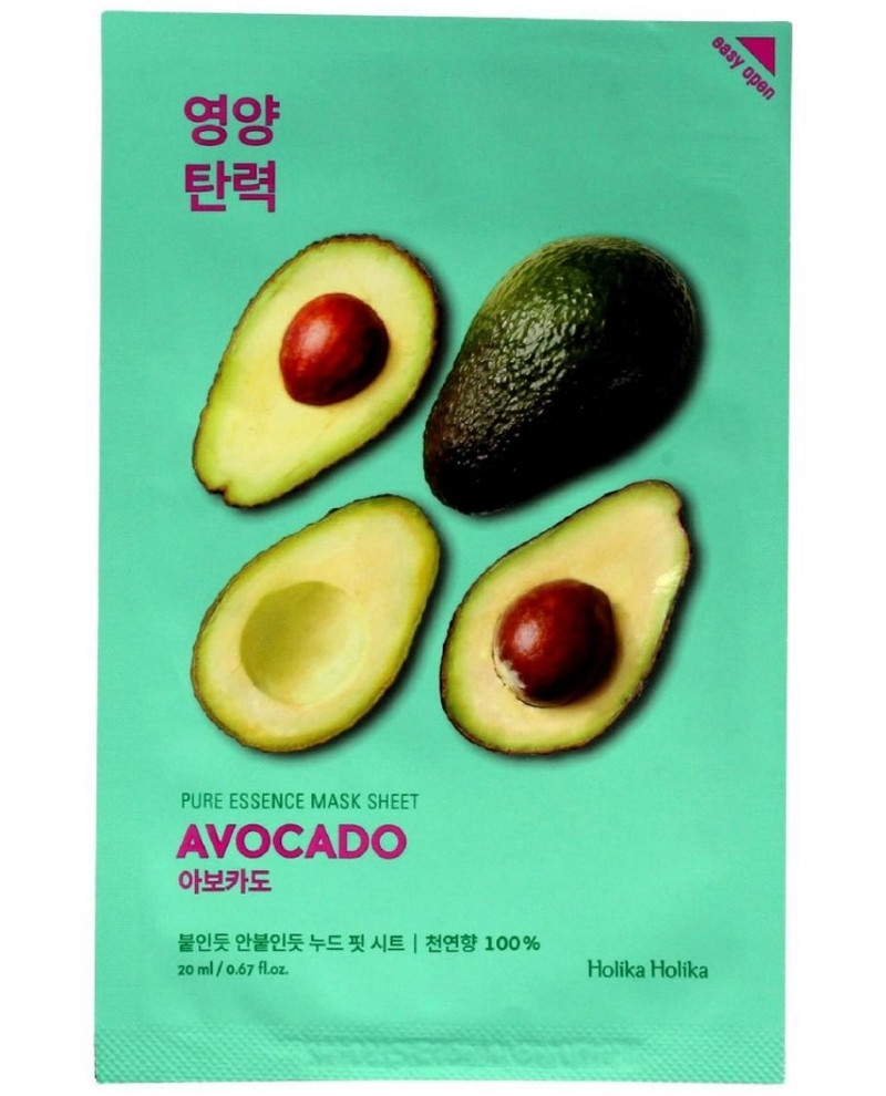"Питательная тканевая маска для лица ""Авокадо"" Holika Holika Pure Essence Mask Sheet Avocado 20 мл (8806334368128)"