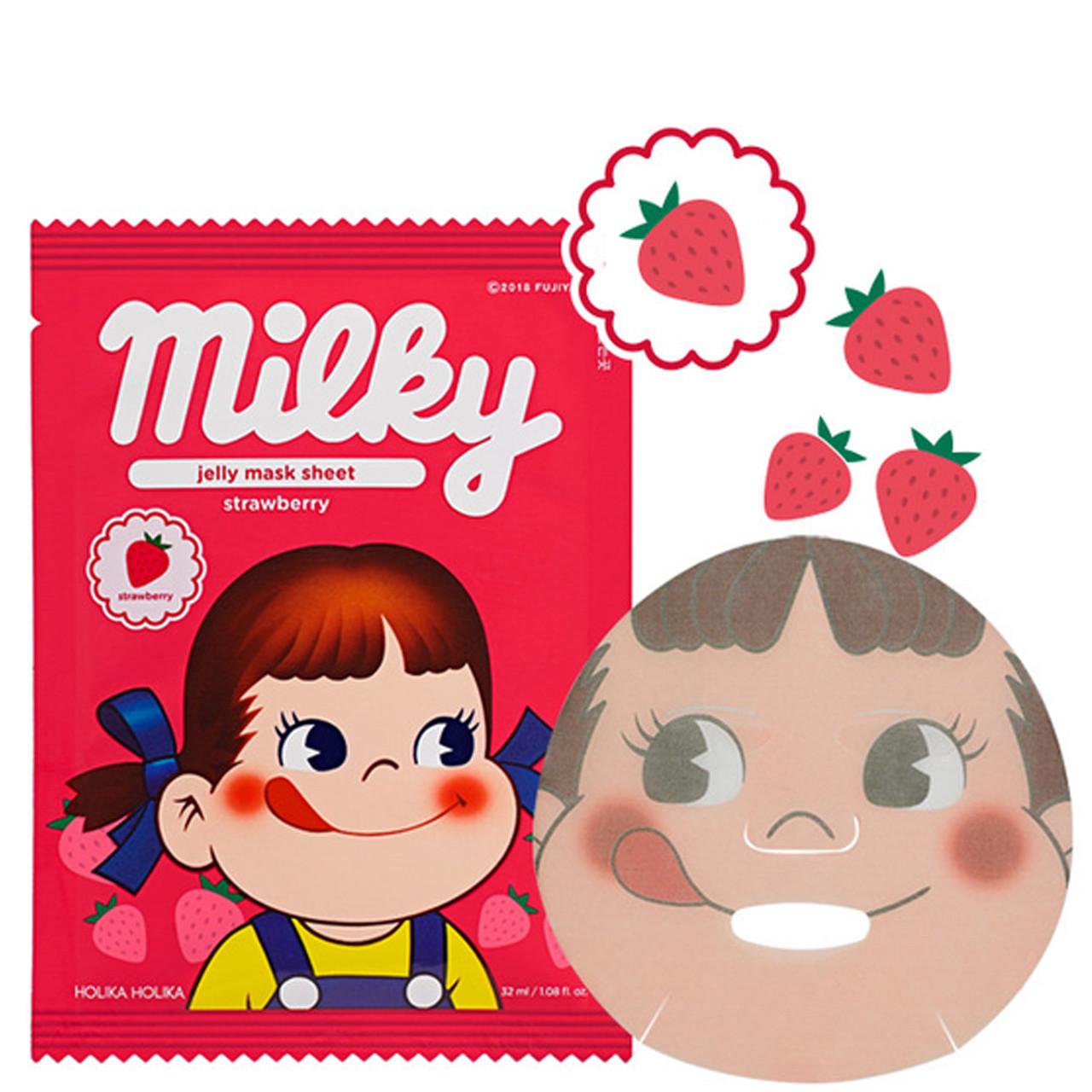 Тканевая маска для лица с клубникой Holika Holika Peko Chan Jelly Mask Sheet Strawberry 32 мл (8806334378363)