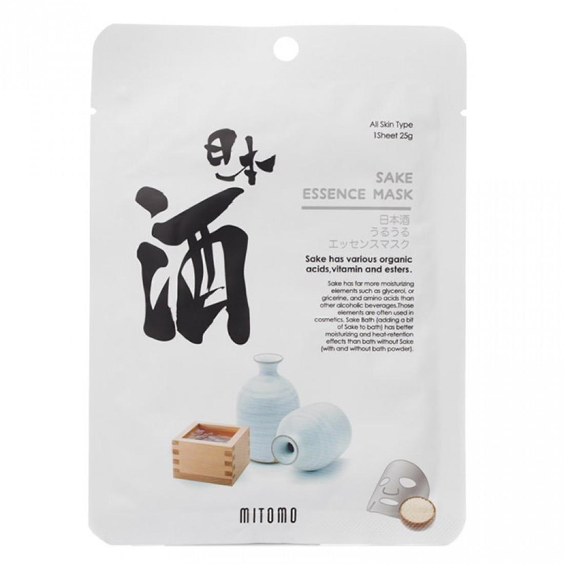 Увлажняющая тканевая маска для лица с саке Mitomo Sake Essence Mask 25 г (4582419531857)