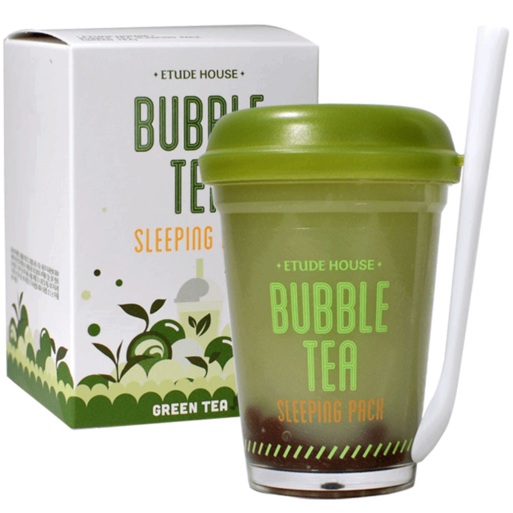 Ночная очищающая маска с экстрактом зеленого чая Etude House Bubble Sleeping Pack Green Tea 100 мл (8806199436253)
