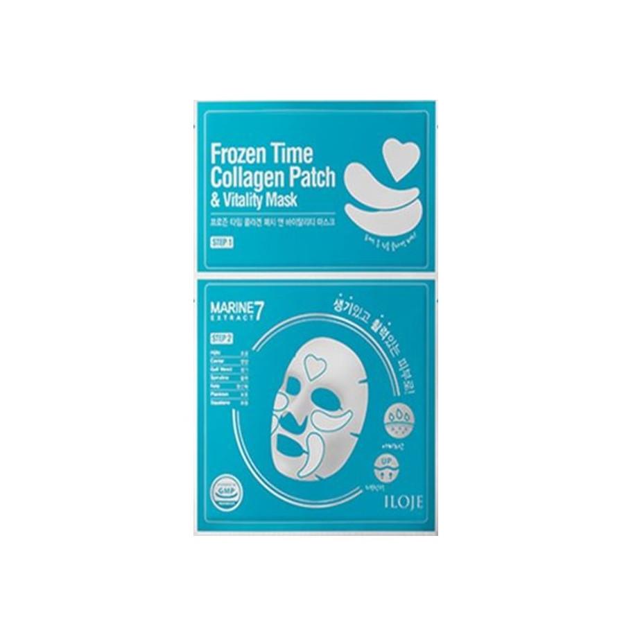 Оздоравливающая маска для лица с тающими патчами 2в1 Konad Iloje Frozen Time Collagen Patch & Vitality Mask (8809433726653)