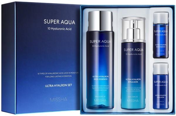 Набор увлажняющих средств для лица Missha Super Aqua Ultra Hyalron 4 предмета (8809643507134)