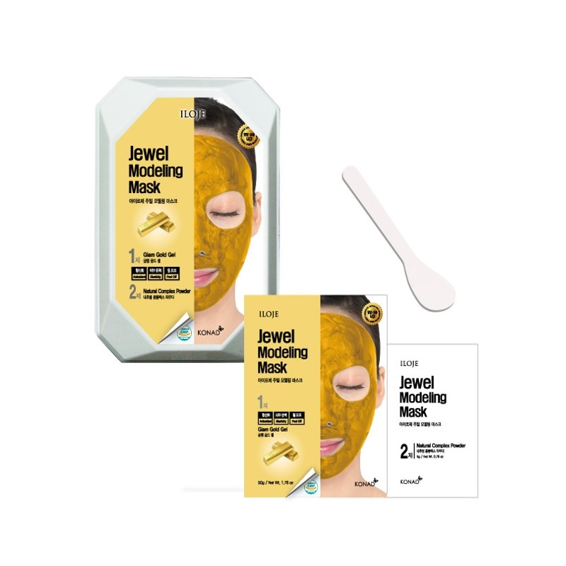 Моделююча маска для обличчя з частинками золота (кейс) Konad Iloje Jewel Modeling Mask Pack Glam Gold 50 г + 5
