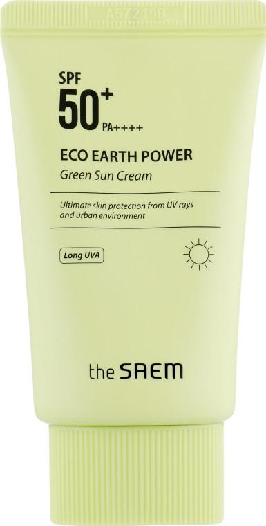 Солнцезащитный крем-корректор The Saem Eco Earth Power Green Sun Cream SPF50+ PA++++ 50 г (8806164154588)