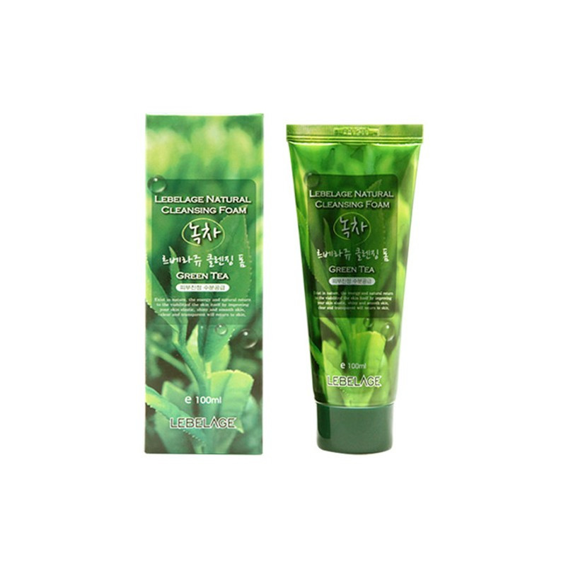 Пенка для умывания лица на основе зелёного чая Lebelage Natural Cleansing Foam Green Tea 100 мл (8809317283104)