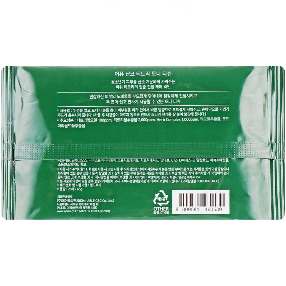 Серветки-тонер для проблемної шкіри з олією чайного дерева A'pieu Nonco Tea Tree Toner Tissue 20 шт