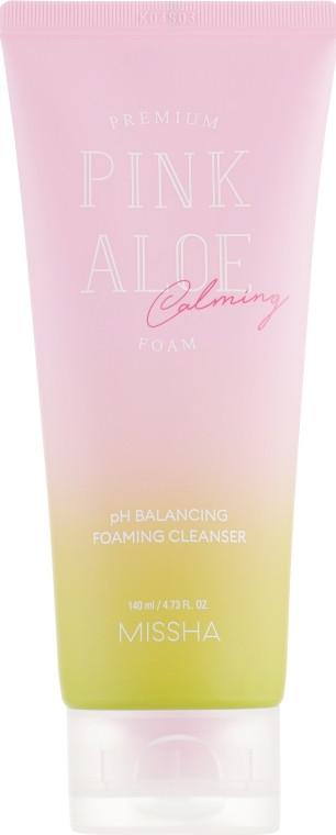 Слабокислотная очищающая пенка для лица Missha Premium Pink Aloe PH Balancing Foaming Cleanser 140 мл (8809643516891)