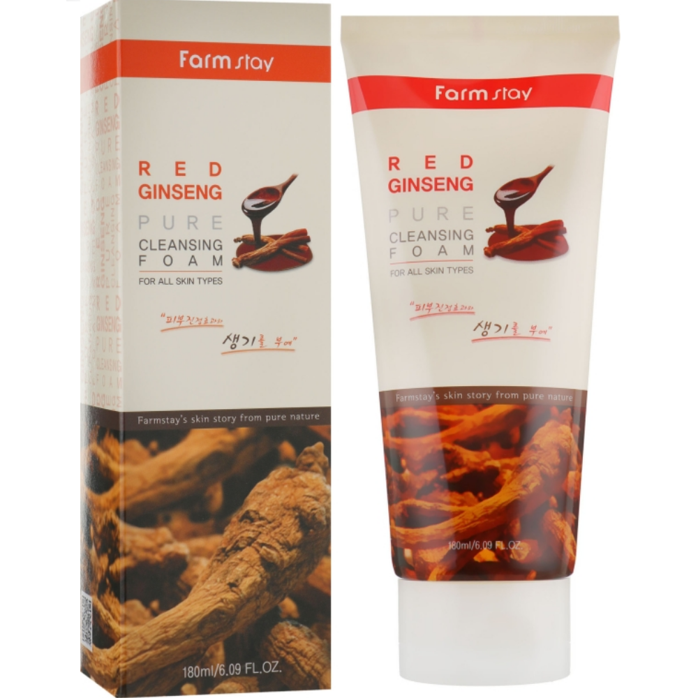 Пенка для умывания лица с экстрактом красного женьшеня Farmstay Red Ginseng Pure Cleansing Foam 180 мл (8809469771245)
