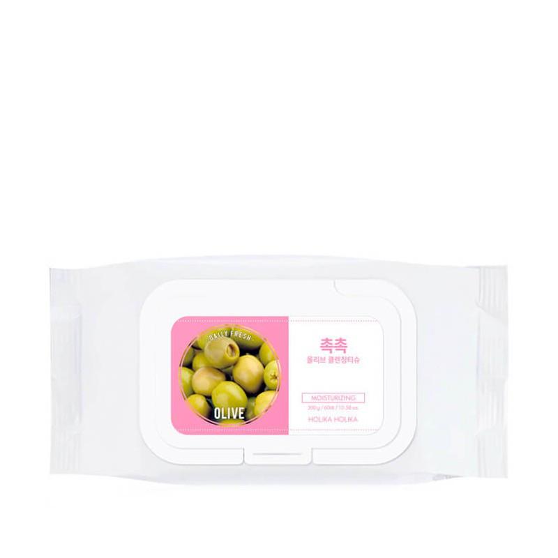 Очищающие хлопковые диски для лица с маслом свежей оливы Holika Holika Daily Fresh Olive Cleansing Tissue 60 (8806334369668)
