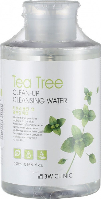 Мицеллярная вода с экстрактом чайного дерева 3W Clinic Tea Tree Clean-Up Cleansing Water 500 мл (8809233711040)